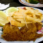 battered and fried corvina
