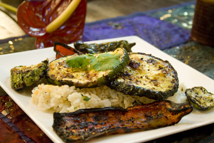 Grilled veggies over coconut rice