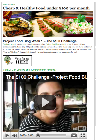 Vote For Us Now on Project Food Blog