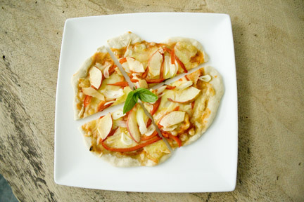 homemade pizza with apples