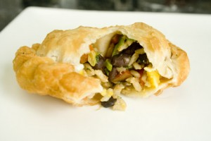 Fried Empanada filled with Gallo Pinto
