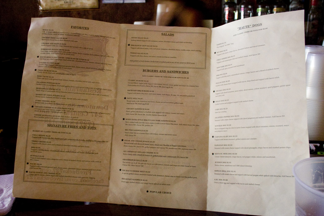 5 Bucks Drinkery Menu