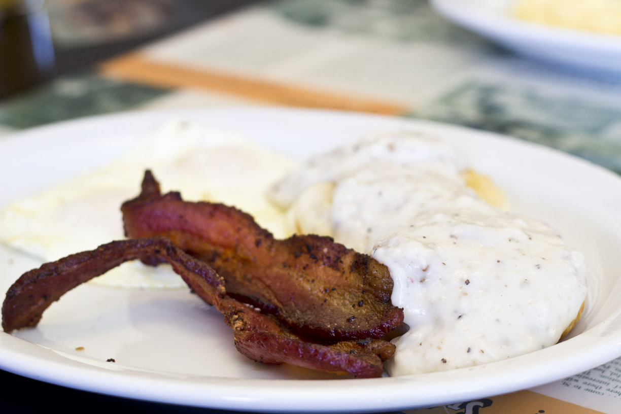 Trips Diner - Biscuits and Gravy with bacon