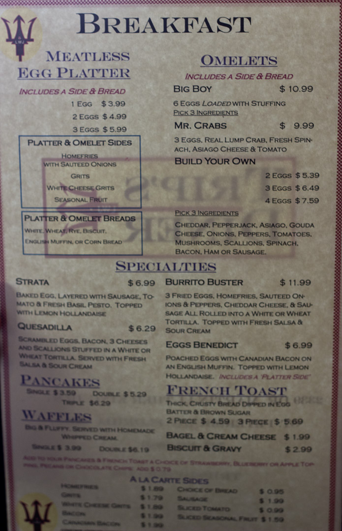 Trips Diner - Breakfast menu