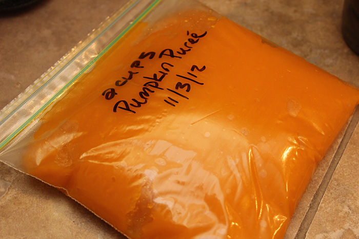 pumpkin puree in 2 cup batches