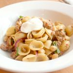Sausage and Orecchiette with Red Onion, Garbanzos and Mint.